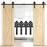 HomLux 8FT Heavy Duty Barn Door Hardware Kit, Sliding Barn Door Hardware Kit for Wood Double Barn Door, Fit 1 3/8-1 3/4' Thickness & 24' Wide Door Panel, Black, Industrial Big Wheel J Hangers