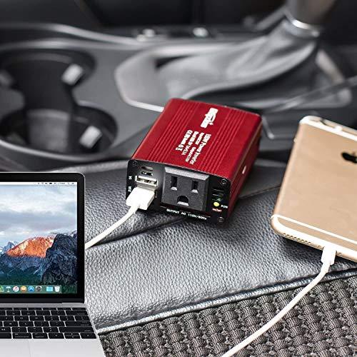 Bapdas 150W Car Power Inverter DC 12V to 110V AC Car Converter with 3.1A Dual USB Car Adapter-Red