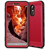 LG Stylo 3 Case, CinoCase LG Stylo 3 Plus Case Heavy Duty Armor Protective Case Hybrid TPU Bumper Shockproof Case with Brushed Metal Texture Hard PC Back for LG Stylo 3 / LG Stylo 3 Plus Red