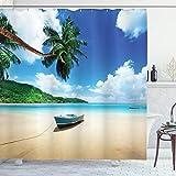 ABAKUHAUS Strand Duschvorhang, Boot am Strand in Insel Mahe, Klare Farben aus Stoff inkl.12 Haken Farbfest Schimmel & Wasser Resistent, 175 x 200 cm, Blaugrüner Sand Braun