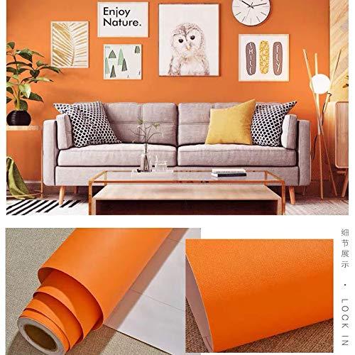 LZYMLG PVC Plain selbstklebende Tapete Studentenwohnheim Schlafzimmer Wohnzimmer Shop Dekoration Renovierung wasserdichte Aufkleber Matte Orange