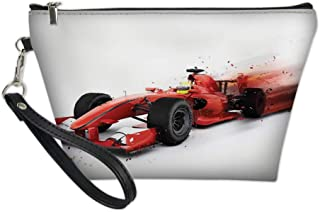 Ladies Makeup Bag,Generic Formula 1 Racing Car Illustration with Special Effect Turbo Motion Auto Print,Women Cosmetic Travel Purse Toiletry