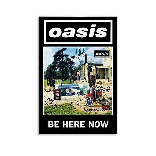 CHAOZHE Oasis famoso poster rock band britannico Be Here Now Poster decorativo su tela da parete per soggiorno, camera da letto, 30 x 45 cm