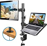 HUANUO Monitor Arm with Laptop Tray, Fully Adjustable for 13 to 27 inch