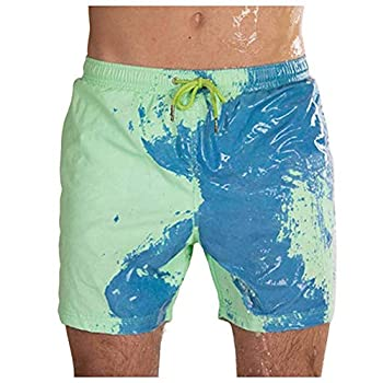 hahahou Color Changing Swim Trunks Trousers Discolor Quick Dry Sweatpants Men Shorts Pants Green