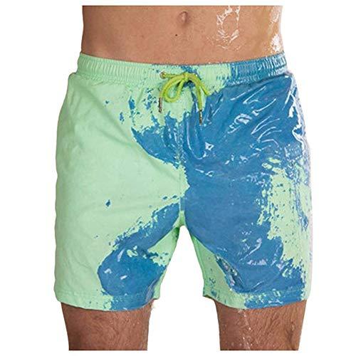 Pantaloncini da Spiaggia Costume da Bagno Estivo,Costume da Bagno A Cintura Elastica, Pantaloni da Spiaggia per Uomo A Cambiamento di Colore Moda, Regali per La Festa del papà