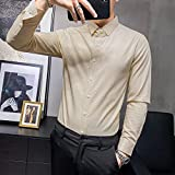 Camisa de Cuadros Shirt Men FashionLong Sleeve Men Dress Shirts Slim Fit Night Club Prom Tuxedo Black/White/Beige AsianXXL65-72KG Beige