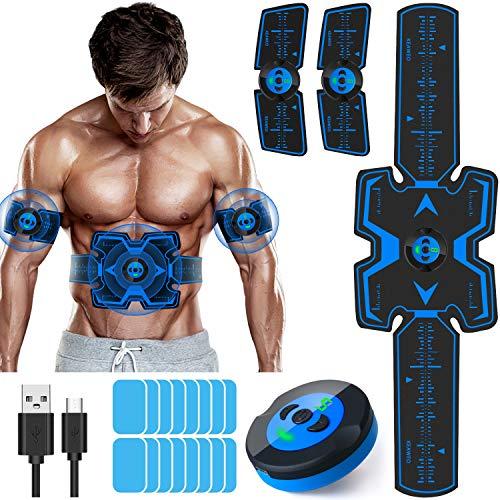 KEAWEO Elettrostimolatore per Addominali Elettrostimolatore Muscolare EMS Stimolatore ABS Trainer/Toner, USB Ricaricabile per Addome/Braccio/Vita/Gambe Home Gym con 16PCS Gel Pezzi