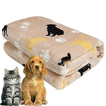 Softan Couverture pour chien en flanelle douce lavable et chaude pour animal domestique pour petit chien, chat, chiot, chaton, 80 x 100 cm, kaki