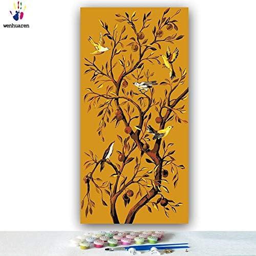 envío rápido en todo el mundo KYKDY Dibujos para Colorar Colorar Colorar de DIY por números con Colors árbol frutal de flor y pájaro dibujo de pintura por números enmarcados Inicio, 2940,50x100 sin marco  precios ultra bajos