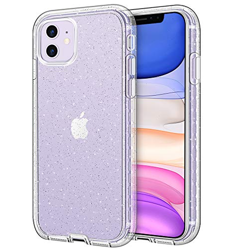 Hython Glitter Compatible with iPhone 11 Case, Slim Glitter Bling Sparkly for Women Girls Anti-Scratch Shockproof Protective Phone Case Hard Bumper Cover for iPhone 11 6.1-Inch 2019, Glitter Clear