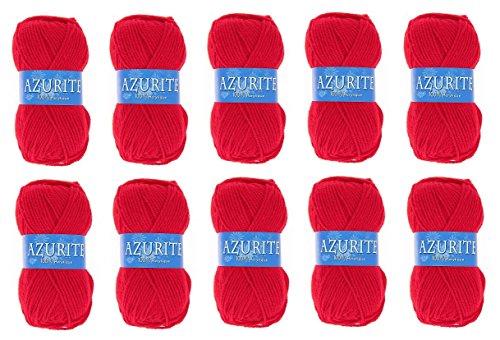 les colis noirs lcn Lot 10 Pelotes de Laine Azurite 100% Acrylique Tricot Crochet Tricoter - Rouge - 156