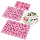 Ziyero 3 Piezas Moldes de Silicona con números de Letras 3D Moldes de jabón de Letras DIY Durable Seguro Reutilizable, para Navidad, Pasteles, Dulces, Chocolate, Cubitos de Hielo Etc—Rosa