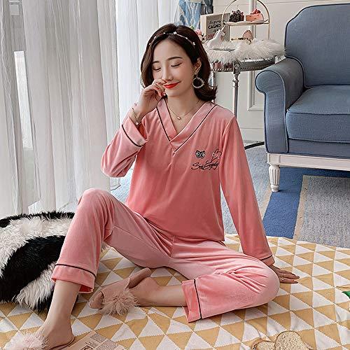 LUOY Damen Pyjama Set,Damen Warm Weich Elegante Nachtwäsche Rosa Einfarbig Buchstabe Flanell V-Ausschnitt Tops Bottoms Comfy Homewear, M.