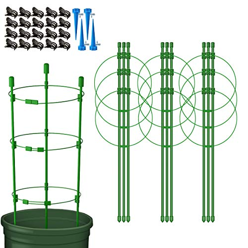 Massimiliano Incas 4 Pack 18' Garden Plant Support Tomato Cage, Reusable Folding Small Flower Plant Support Cage, Include 4 Self Watering Spikes and 20 Plant Clips