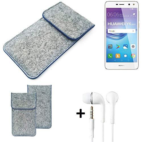 K-S-Trade Filz Schutz Hülle Für Huawei Y6 2017 Dual SIM Schutzhülle Filztasche Pouch Tasche Handyhülle Filzhülle Hellgrau, Blauer Rand + Kopfhörer