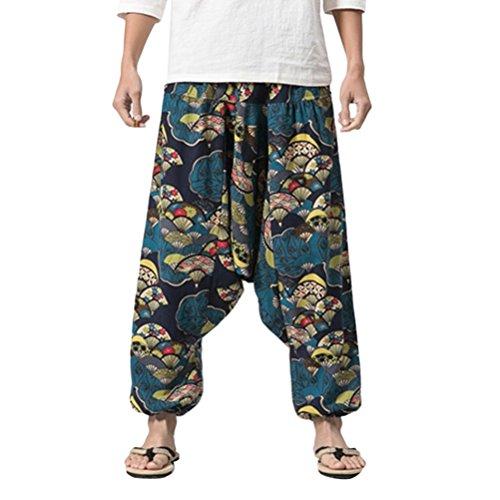 Zhuhaitf Pantalones Bombachos Hombre y Mujer Ropa Hippie Hombre Mujer Mens Harem Hippie Pants thai pants National Winds
