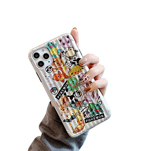 MC Fashion iPhone 11 Pro Case, Cute 3D Striped Cartoon Silver Glossy Case, Slim Fit Black Bumper Full-Body Soft Protective TPU Case for Apple iPhone 11 Pro 5.8 inch 2019