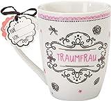 Form-schöne Porzellan-Tasse, Durchmesser: 8, 4 cm, Höhe: 10, 5 cm, Volumen: 30 cl Kaffee-Tasse mit beidseitig bedrucktem Geschenk-Anhänger, mit einem Bändchen an den Henkel gebunden Cappuccino-Tasse besonders alltagstauglich und praktisch, da spülmas...