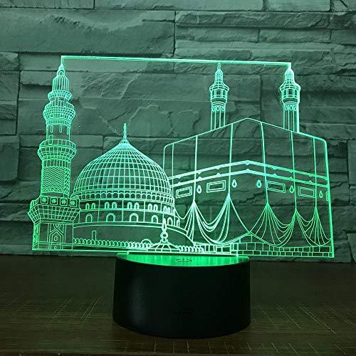 Onlymygod Temple Castle Palace Touch Dormitorio Oficina Decoración Mezquita Luz nocturna para regalo musulmán Ramadán 3D Led Luz de la noche Lámpara de batería y carga USB