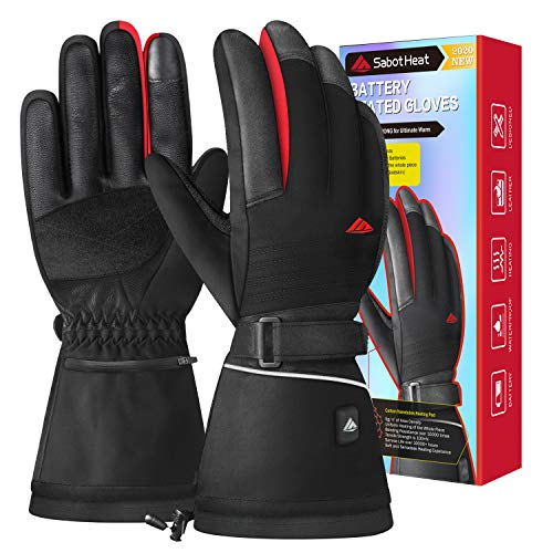 SabotHeat Heated Gloves for Men Women - Electric Battery Heated Gloves, 2400mAh Rechargeable Heated Motorcycle Gloves, Skiing Snowboarding Gloves, Touchscreen, Size L