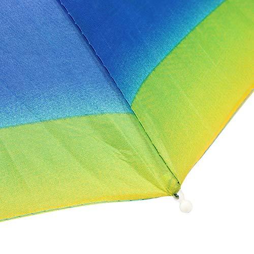 Mothinessto Sombrero de Paraguas Gorro de Paraguas de Cabeza Multicolor 29.9in Plegable Fácil de Llevar en la Playa para Pescar al Aire Libre Trabajar en el jardín(Rainbow Umbrella Hat)
