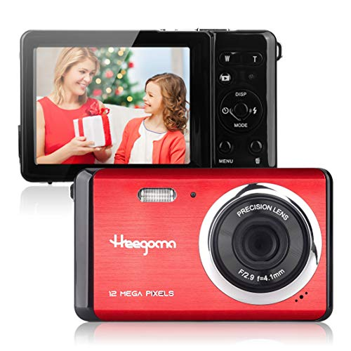 """Digital Camera for Beginners 2.8"""" LCD 12MP Rechargeable Digital Camera, Point and Shoot Digital Cameras for Kids/Teenagers/Students (Red)"""