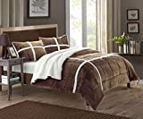 Chic Home 3 Piece Chloe Sherpa Lined Plush Micro Suede...