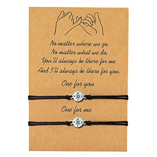 GVUSMIL 2 pulseras a juego de 2 piezas de Pinky Promise Distancia, regalos para mejores amigos, pareja, familia, mujeres, hombres, adolescentes, niñas y ella
