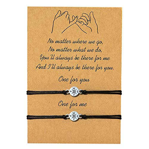 GVUSMIL 2 Pieces Pinky Promise Distance Matching Bracelets Gifts for Best Friends Couple Family Women Mens Teen Girls, Him and Her