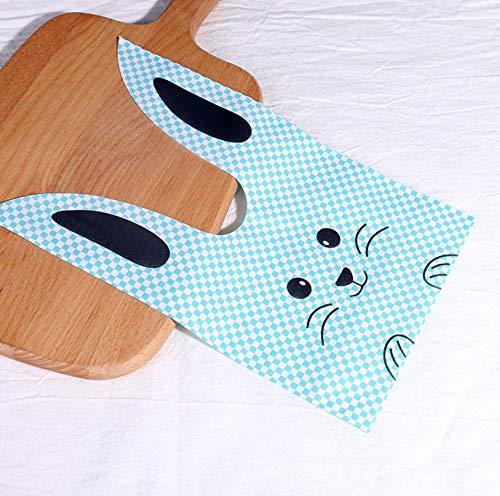 ウサギのかわいいギフトバッグ 選べるカラーとサイズ 100枚 ビニール袋 レジ袋 イベント袋 お菓子袋 MINAKIKO (チェックうさぎ青, M)