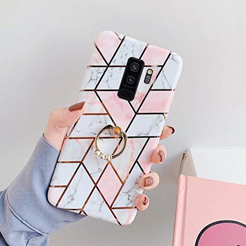 Saceebe Compatible avec Samsung Galaxy S9 Plus Coque Silicone Motif Géométrique Marbre Housse Etui avec Anneau Support Bague Glitter Paillette Brillant Strass Ultra Fine Fille Case,Rose Blanc