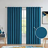Variegatex Teal Blue Blackout Curtains 84 Inches Long for Bedroom Living Room, Back Tab/Rod Pocket Solid Textured Thermal Insulated Window Treatment Drapes, 52' W 2 Panels