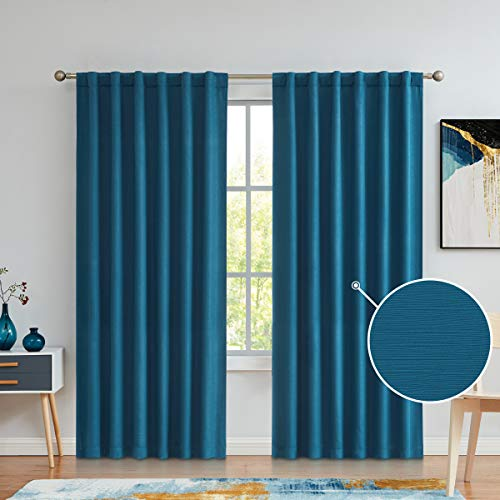 Variegatex Teal Blue Blackout Curtains 84 Inches Long for Bedroom Living Room, Back Tab/Rod Pocket Solid Textured Thermal Insulated Window Treatment Drapes, 52