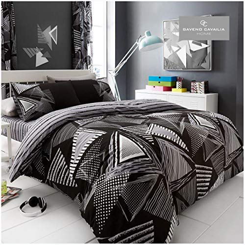Gaveno Cavailia Funky Geometric Pattern Duvet Cover Quilt Set with Pillow Case, Reversible, Poly Cotton, Triangle, Double Size Bedding, Polycotton, POP Black