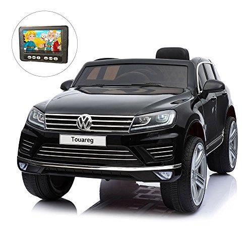 giordano shop Auto Macchina Elettrica Suv 12V MP4 Per Bambini 1 Posto Volkswagen Touareg Nera