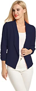 Women 3/4 Sleeve Blazer Open Front Cardigan Jacket Work Office Blazer