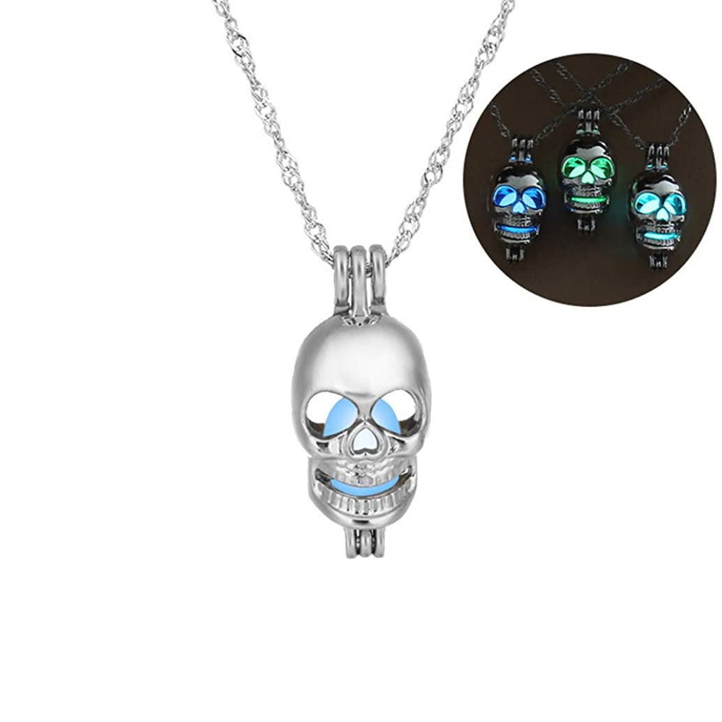Greendou Fashion Jewelry Luminous Series Skeleton Head Pendant Necklace Fluorescent Necklace, Glow in The Dark (Green)