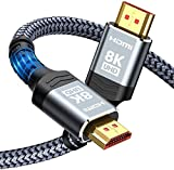 8K@60 HDMI Cable 10FT/3M, Highwings 48Gbps Ultra High Speed HDMI Braided Nylon 4K120 144Hz RTX 3090 eARC HDR10 4:4:4 HDCP 2.2&2.3 Dolby Compatible for Apple TV, Fire TV, PS5, PS4