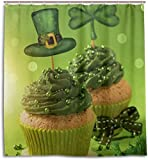 DHGFH Duschvorhang Cupcake Clover St. Patrick's Day Shower Curtain Waterproof Polyester Decoration Bathroom Curtain with Hooks 71x71 Inch