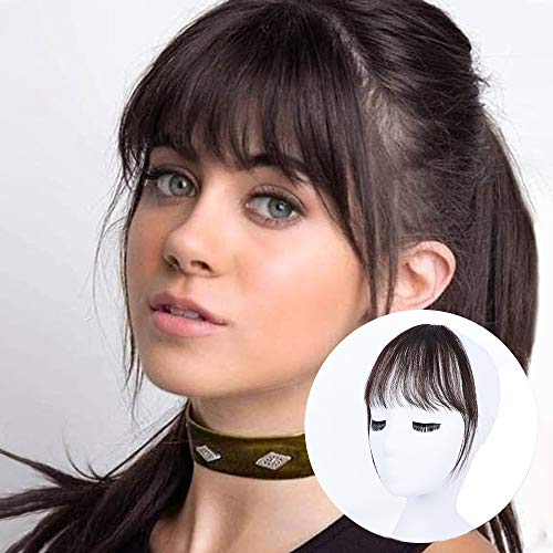 BOGSEA Bangs Hair Clip in Bangs Real Human Hair Wispy Bangs Fringe with Temples Hairpieces for Women Clip on Air Bangs Flat Neat Bangs Hair Extension for Daily Wear (Dark Brown)