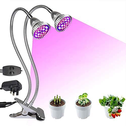 Derlights Pflanzenlampe, LED-Pflanzenlampe, 60 W, Wachstumslicht, Doppelkopf, komplettes Spektrum, Pflanzenlicht mit 80 LED-Chips für Innenpflanzen