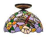 Pantalla Verde Luces del estilo de Tiffany de la libélula de cristal flor de 12 pulgadas de techo de la cortina for la sala de estar de la lámpara de techo