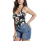 GUESS Womens Racerback Sleeveless Bodysuit Black M