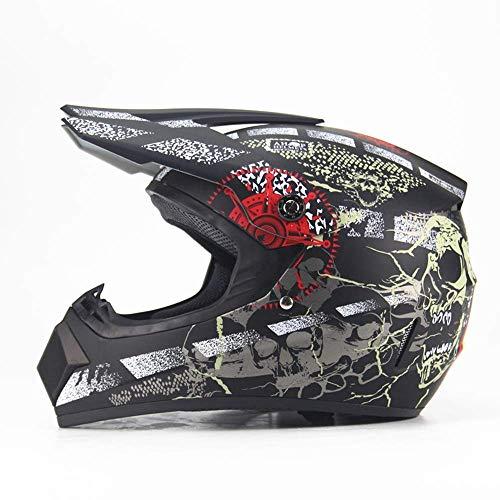 LIUJIE Motorradhelm für Herren und Damen, Mountainbike, Integralhelm, DH Downhill, Pirat, Totenkopf, vier Jahreszeiten (schwarz, large