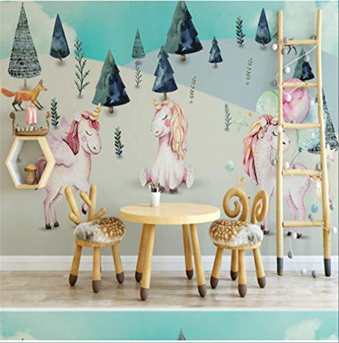 FangXUEPING 3D aangepaste fotobehang, cartoon-patroon, voor kinderkamer, achtergrond, muurpapier voor muren, 3D paard boom, woondecoratie Breite 250cm s Höhe175cm Pro