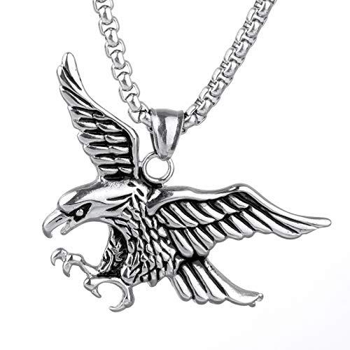 YFGlgy Collar Colgante De Águila Calva Volando, Collar De Águila Americana De Hip Hop con 23.6'Cadena, Vintage Hawk Eagle Pendant, Viking Animal Collar Regalo De Joyería
