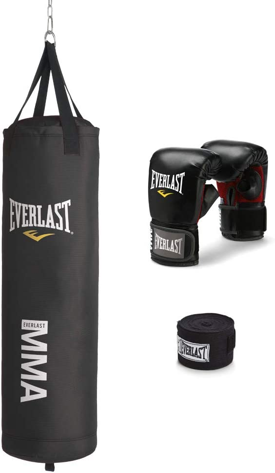 Everlast 70-Pound MMA Heavy-Bag Kit, Black : Heavy Punching Bags