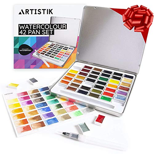Premium Watercolour Paint Set - 48 Colours Whole Pan Pallet Paints Set and Watercolor Painting Set for Artists, Beginners, Kids, Adults and Professionals, Vibrant Colors, Metallic and Traditional