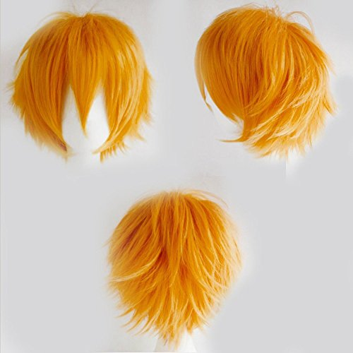 Anime Cosplay Synthetic Full Wig with Bangs 20 Styles Short Layered Fluffy Hair Oblique Fringe Full Head Unisex +Stretchable Elastic Wig Net for Man and Women Girls Lady Fashion (Light Orange)